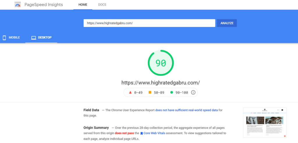 Page Speed Insights Speed Audit Result