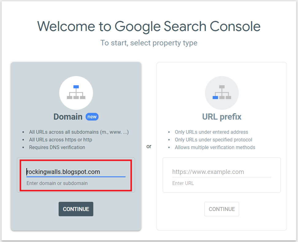 Google Search Console-Select Property Type