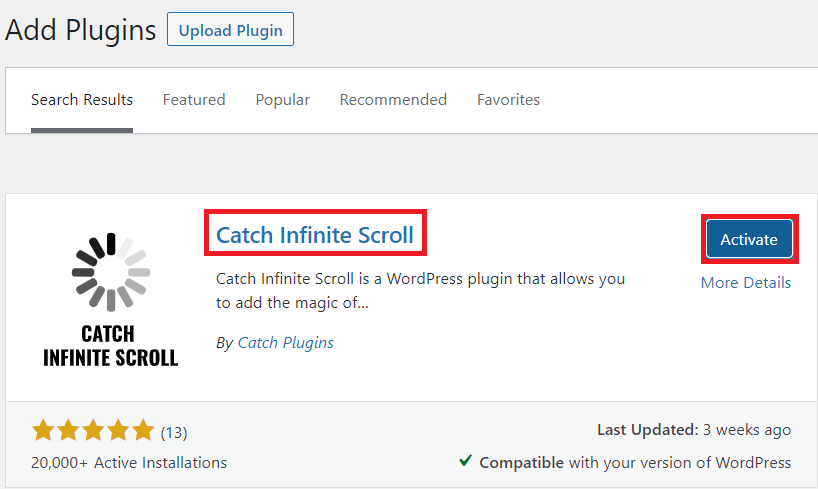 Catch Infinite Scroll Plugin-Install and Activate